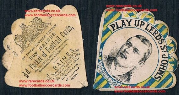 1880's Leeds Rhinos Play Up St. John's Baines fan card, inset Walton